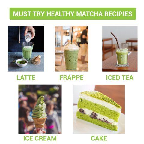 Matcha Recipes make latte frappe iced tea ice cream and cake