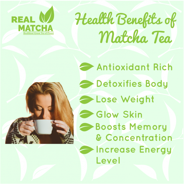 Matcha has lots of benefits like antioxidant rich detoxifies body lose weight glow skin