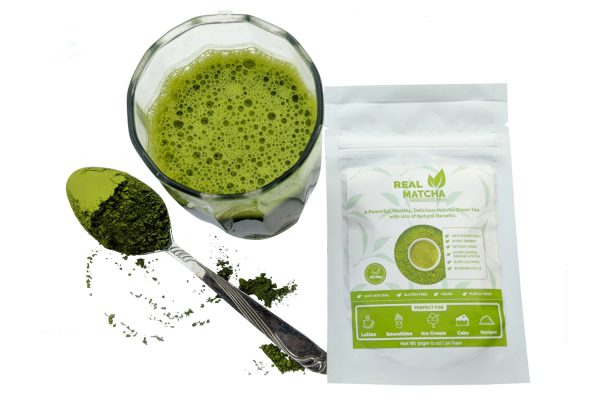 Matcha green tea latte with product